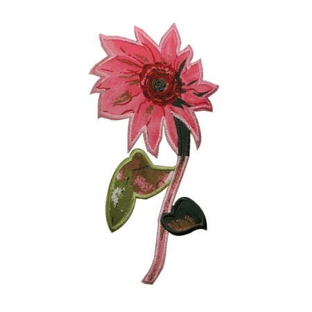 ID 6304 Pink Marigold Flower Patch Spring Garden Silk Screen Iron On Applique (Marigold Silk)
