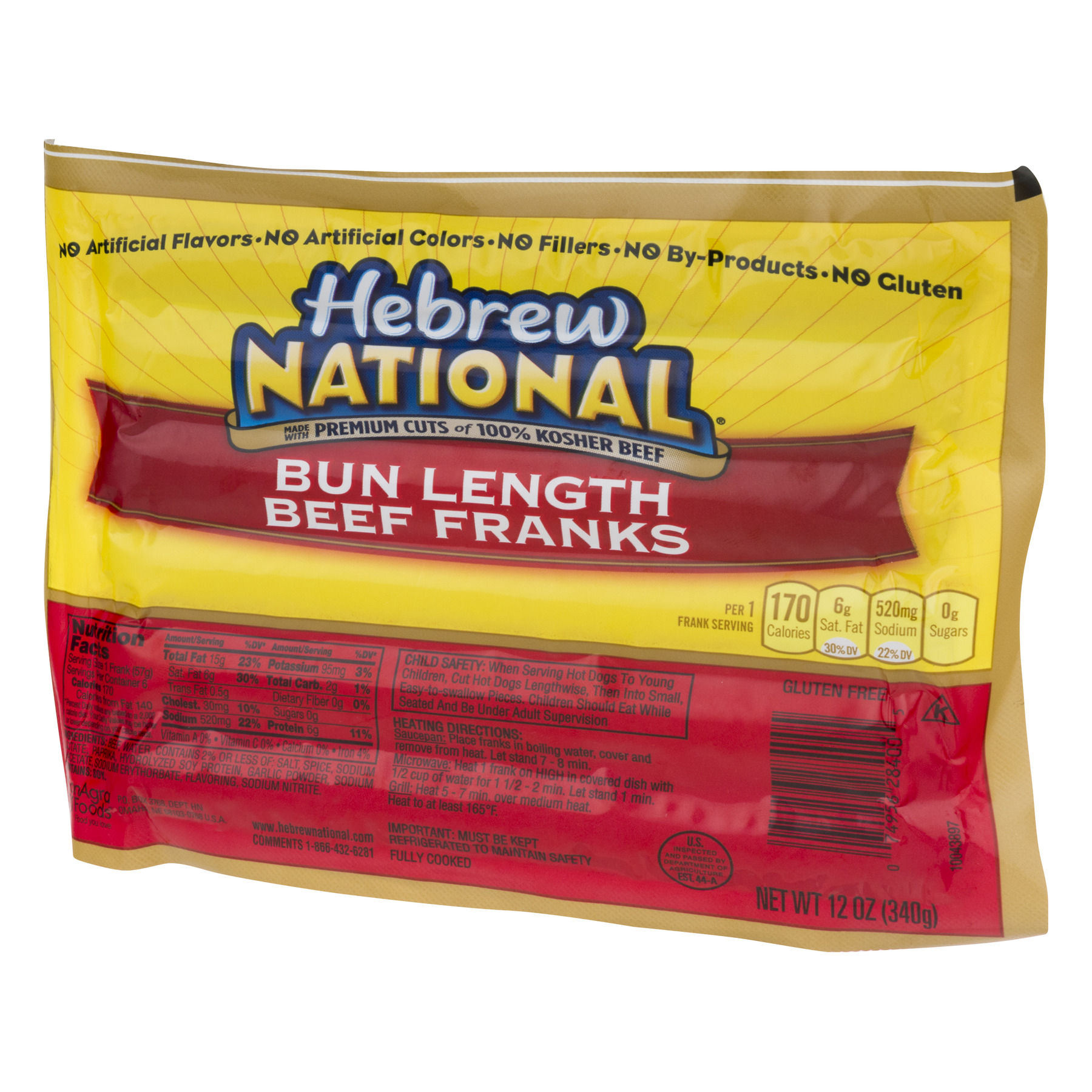 Hebrew National Bun Length Beef Franks, 12 Ounce, 6 Count - Walmart.com