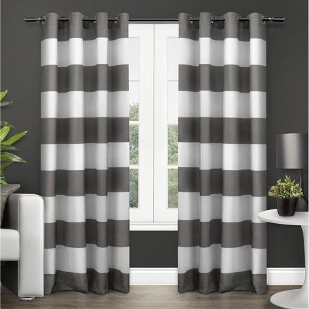- Exclusive Home Curtains 2 Pack Surfside Cabana Stripe Cotton Grommet Top Curtain Panels