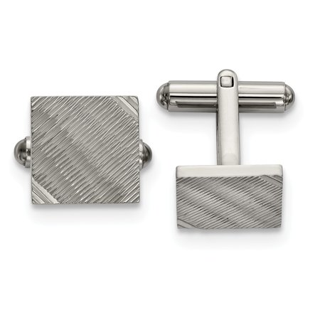 Mia Diamonds Stainless Steel Polished and Textured Square Cufflinks