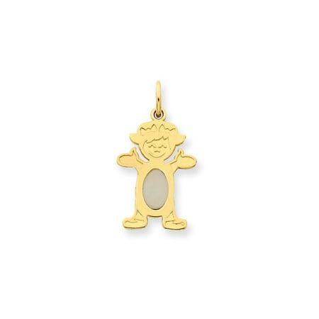Little Girl Birthstone Charm - 14K Yellow Gold White Opal Oval Little Girl Charm Pendant