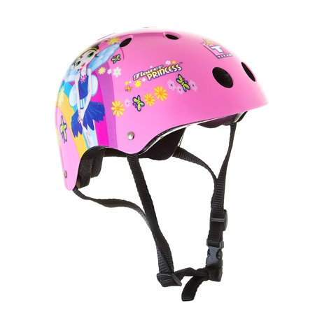 Titan Flower Princess 11-vent Girls Pink Skate and Bike Helmet, Size Small