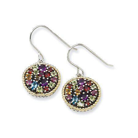 Sterling Silver Shepherd hook Antique finish With 14k 2.16tw Multi Gemstone Earrings - 2.16 cwt