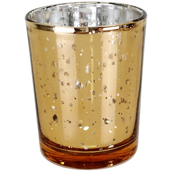 """Just Artifacts Speckled Amber Mercury Votive Candle Holder (1pcs, 2.75""""H, Speckled Amber) - Home and Wedding Mercury Glass Candle Holders by Just Artifacts"""