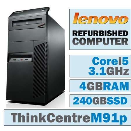 REFURBISHED Lenovo ThinkCentre M91p MT/Core i5-2400 @ 3 1 GHz/4GB DDR3/NEW  240GB SSD/DVD-RW/No OS