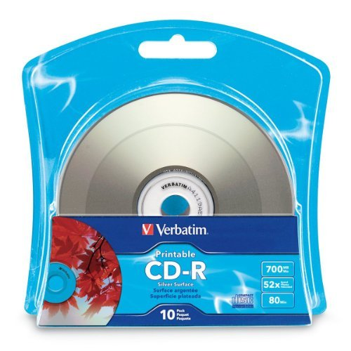 Verbatim 96933 CD Recordable Media - CD-R - 52x - 700 MB - 10 Pack Blister - Inkjet Printable