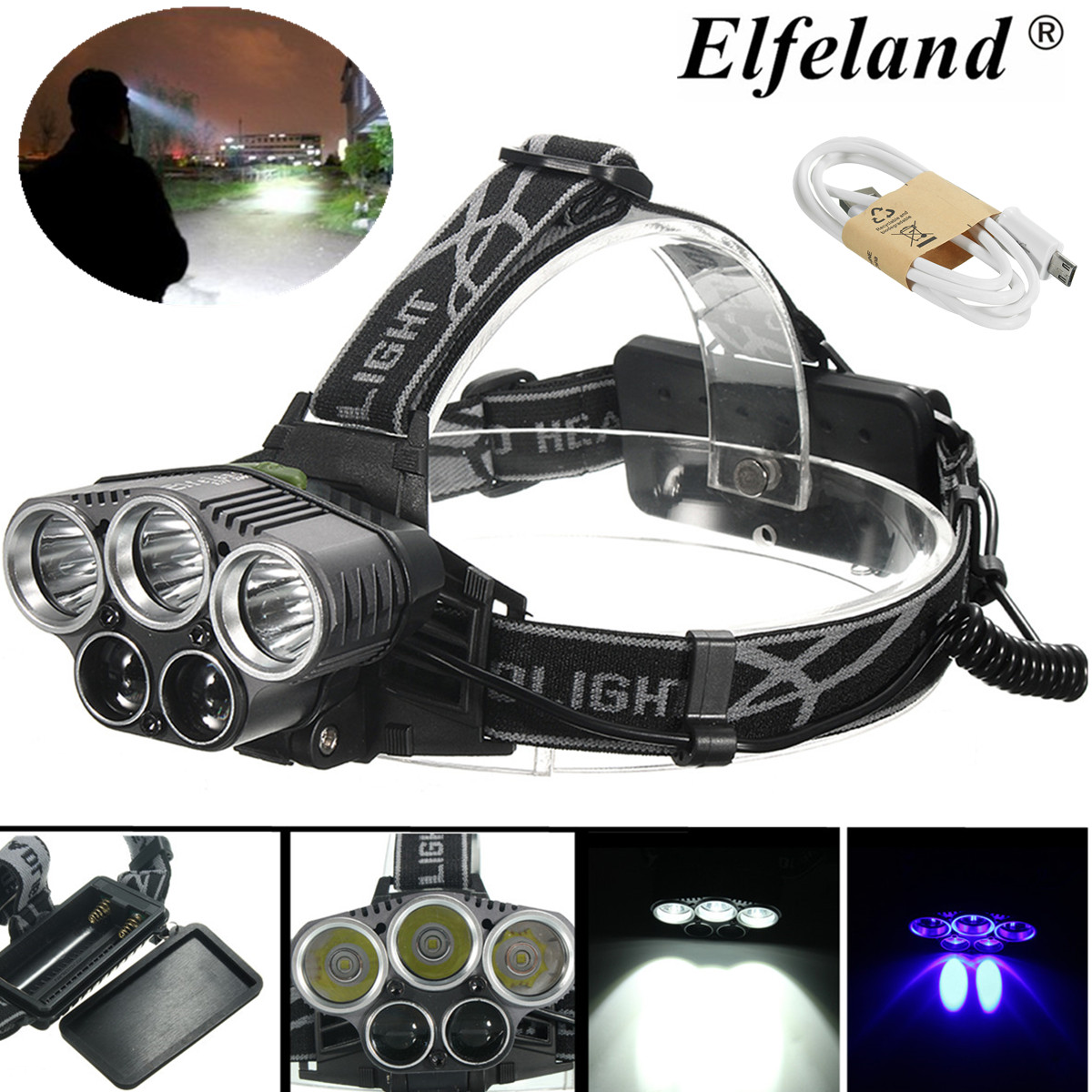 6000LM 5x T6 LED Rechargerable Headlight Headlamp Head Torch Light Lamp with USB Cable Headlights & Lights 5Modes for Outdoor Camping Bicycle