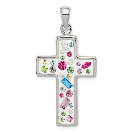 925 Sterling Silver Multi Color Stellux Crystal White Cross Religious Pendant Charm Necklace Latin Gifts For Women For