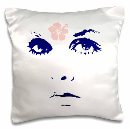 3dRose Retro Sixties Mod Flower Power Girls Face - Pillow Case, 16 by 16-inch (Sixties Flower Power)
