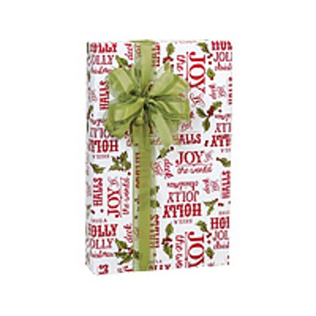 Red and Green Merry Christmas Holly Berry Holiday /Christmas Gift Wrapping Paper 16ft ()