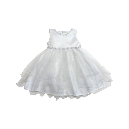 Little Girls Off-White Shimmery Dot Overlaid Satin Flower Girl Dress