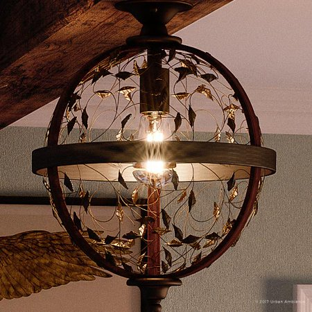 Midnight Wood Finish (Urban Ambiance Luxury Art Nouveau Flush Mount Ceiling Light, Medium Size: 16