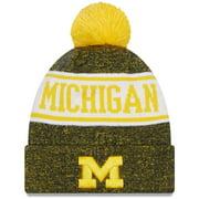 Michigan Wolverines New Era Youth Banner Cuffed Pom Knit Hat - Maize - OSFA