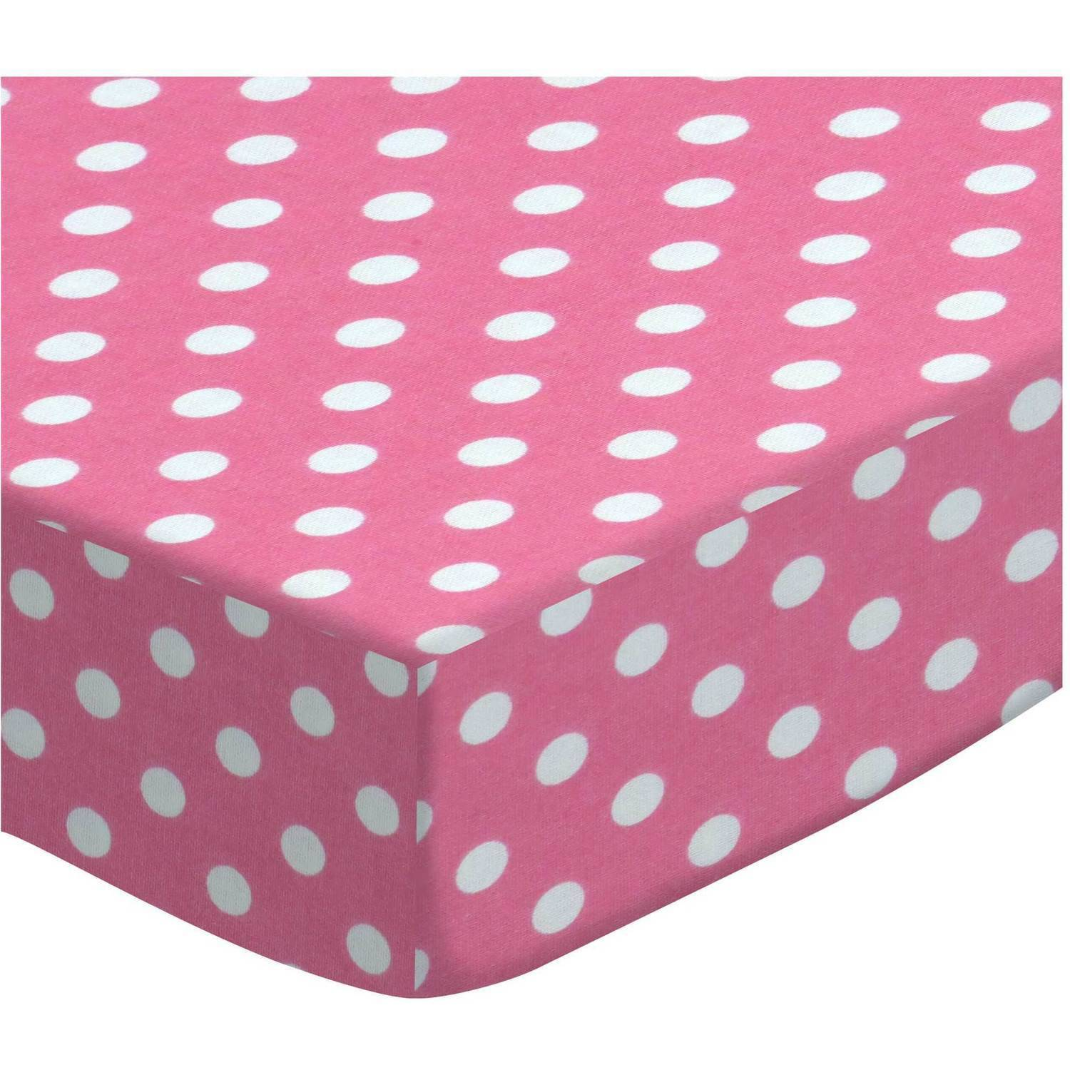 SheetWorld Fitted Crib / Toddler Sheet - Primary Polka Dots Pink Woven