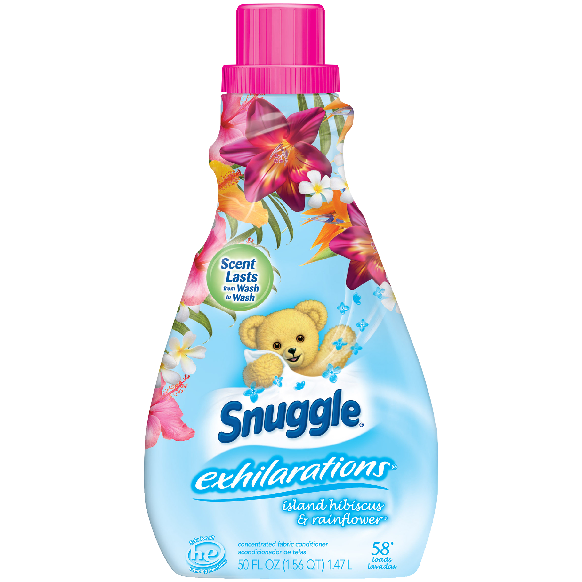 Snuggle Exhilarations Liquid Fabric Softener, Island Hibiscus & Rainflower, 50 Ounce, 58 Loads