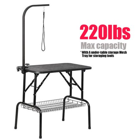Adjustable Pet Dog Cat Grooming Table Professional Foldable Height Drying Table w/Arm & Noose & Mesh