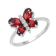 Sterling Silver Garnet and White Topaz Ring Size: 6, Color: Red