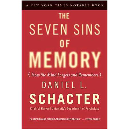 advertising the seven sins of memory The book revolves around the theory that the seven sins of memory are similar to the seven deadly sins, and that if one tries to avoid committing these sins, it will help to improve one's ability to remember.
