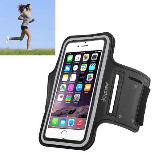 Insten Sports Running Jogging Gym Exercise Armband Case for iPhone 6 6S / Samsung Galaxy S7 S6 & Edge Phone (with key storage slot holder) Black