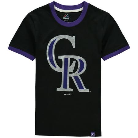 Colorado Rockies Majestic Youth Baseball Stripes Ring T-Shirt - Black Baseball Youth T-shirt