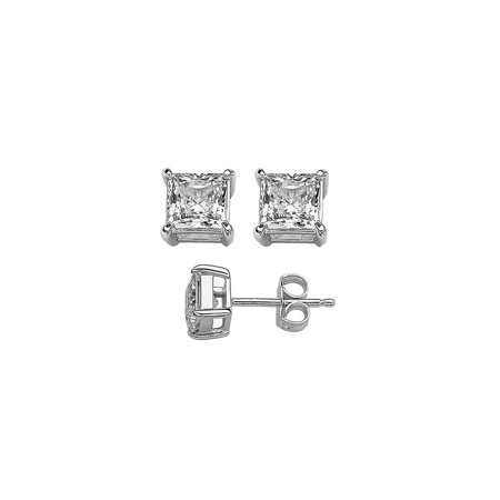925 Sterling Silver  1 Ct Princess White Cz Stud Earrings