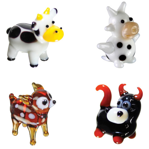 BrainStorm Looking Glass Miniature Glass Figurines, 4-Pack, Cow/Dairy Cow/Deer/Bull