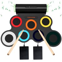 Electronic Drum Set, 7 Pads Roll Up Drum Practice Pad with Headphone Jack Built-in Speaerk Midi Drum Kit Drum Pedals Drum Sticks,10 Hours Playtime Gift for Kids(Colorful)