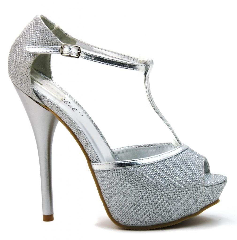 Ayala2 by Blossom, Glitter Peep Toe T-Strap High Heel Dress Sandal Platform Pump