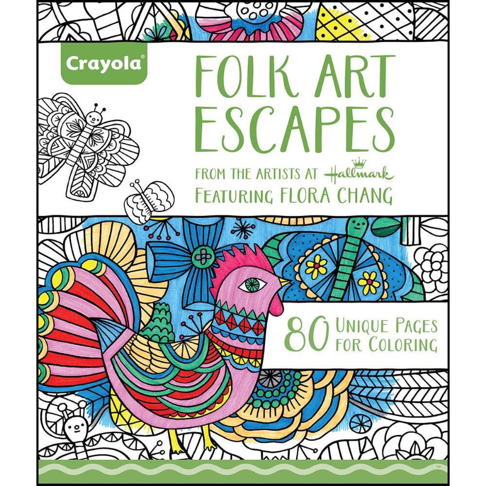 Crayola Folk Art Escapes Adult Coloring Book 8 x 10 No Bleed