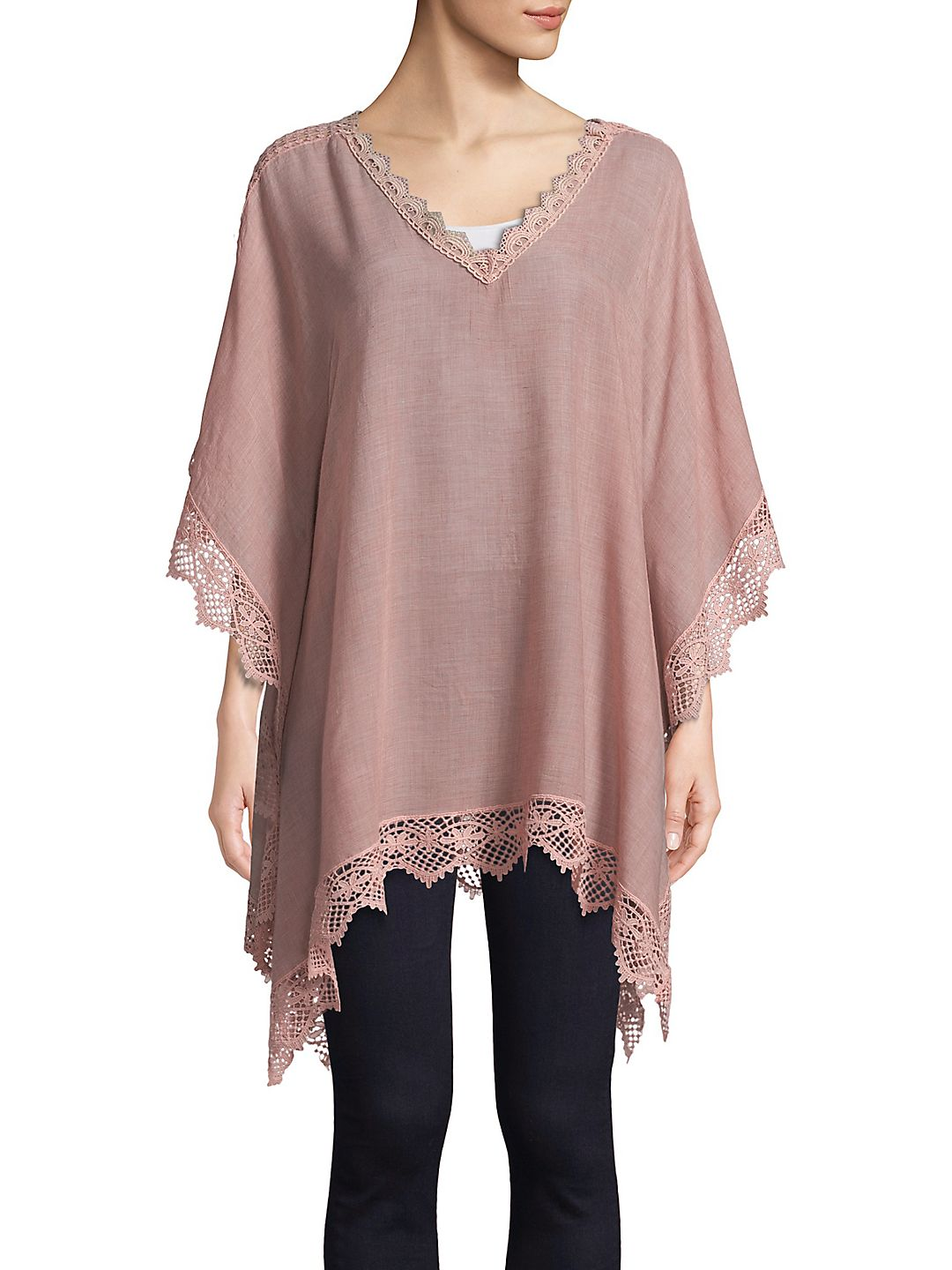 Lace-Trimmed V-Neck Poncho