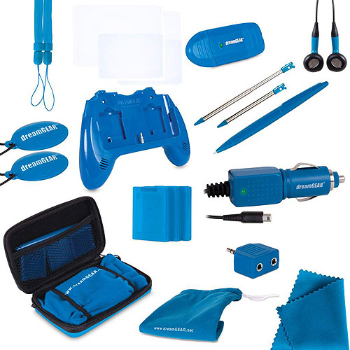 DreamGear DG3DS-4204 20 in 1 Essentials Kit for Nintendo w/Tote Bag 3DS Blue