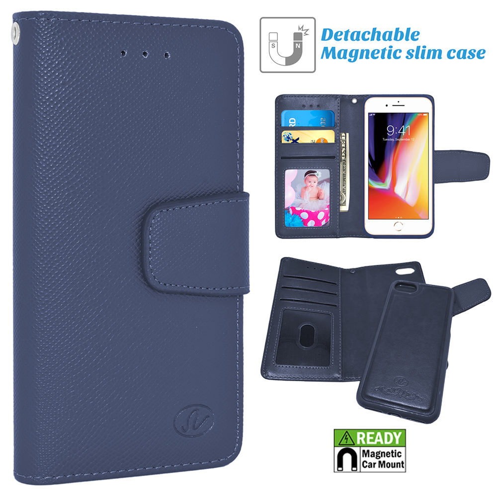 Apple IPhone 8 / 7 Folio Leather Removable Magnetic Wallet Case Cover