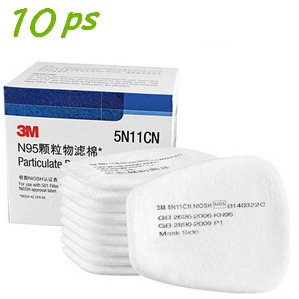 10Pcs 3M 5N11 N95 Particulate Filter Respirator Cotton Gas Mask 6200 6800 7502 by M.A.K