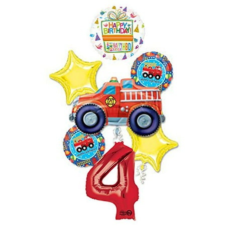 Fire Truck Fire Engine 4th Birthday Party Supplies and Balloon - Fire Party Supplies