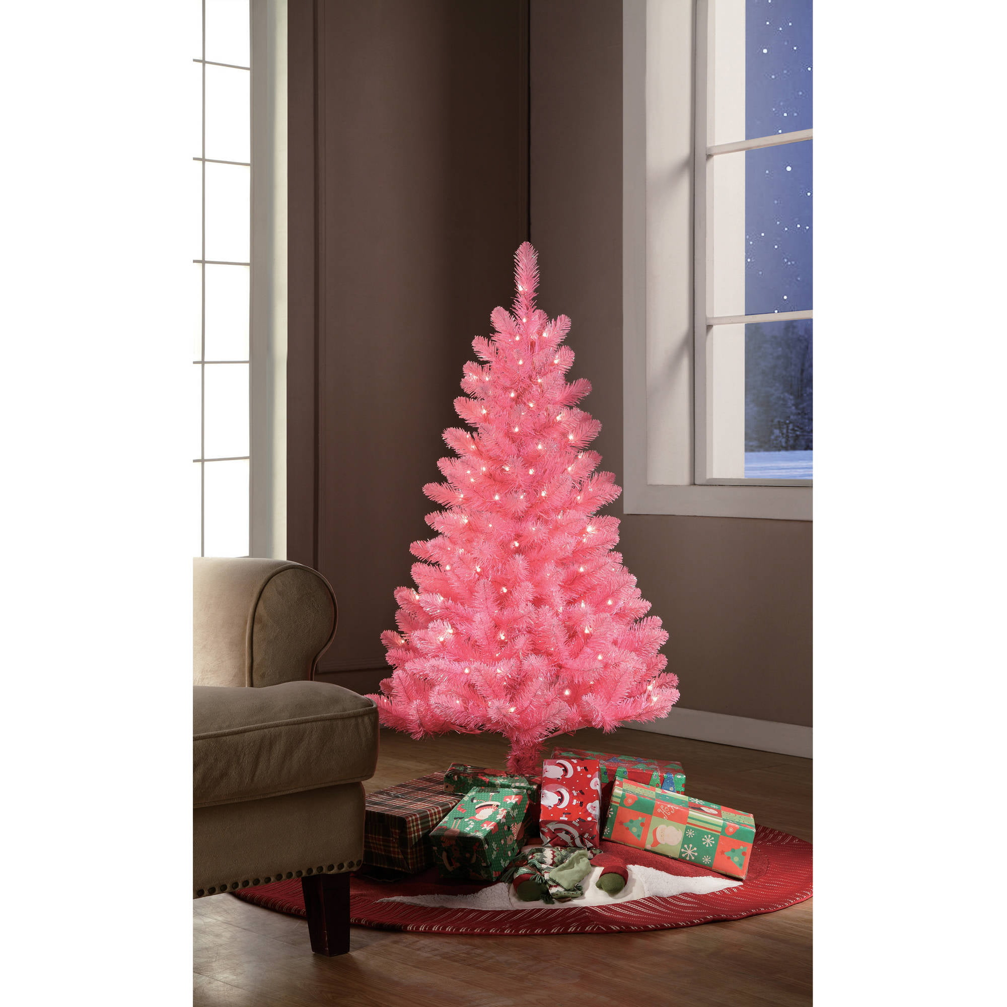 holiday time pre lit 4 pink tinsel artificial christmas tree clear lights walmartcom - Christmas Tree Walmart