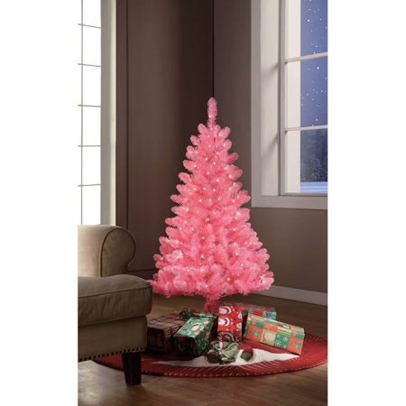 Holiday Time Pre Lit 4 Pink Tinsel Artificial Christmas Tree Clear Lights