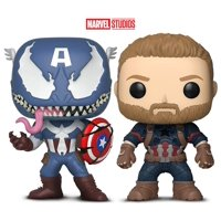 Warp Gadgets Bundle - Funko Pop Marvel Venom-Venomized Captain America and Infinity War Captain America (2 Items)