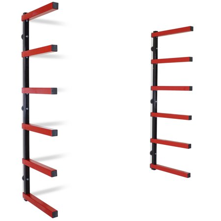 Seville Still Life - Titan 6 Shelf Lumber Storage Rack Steel Wall-Mounted Indoor/Outdoor 600 lb Max