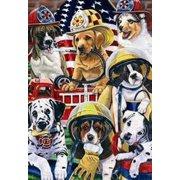 "Firehouse Dogs Garden Flag Fire Department Firemen Made in the USA 12"" x 18"""