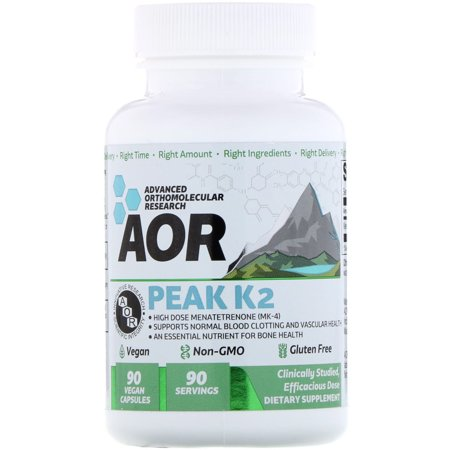 AOR, Peak K2, Supports Bone and Cardiovascular Health and Normal Blood Clotting, Dietary Supplement, 90 servings (90