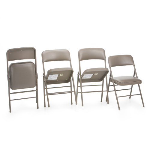 Cosco Deluxe Cushioned Vinyl Folding Chair - Taupe - 4 Pack