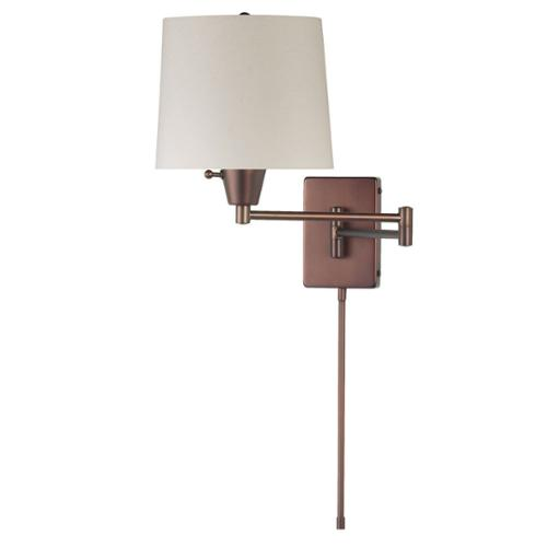 Dainolite Oil-brushed Bronze and Cream Tapered Shade Swing-arm Wall Lamp by Overstock
