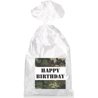 Military Camouflage Happy Birthday  Party Favor Bags with Ties - 12pack