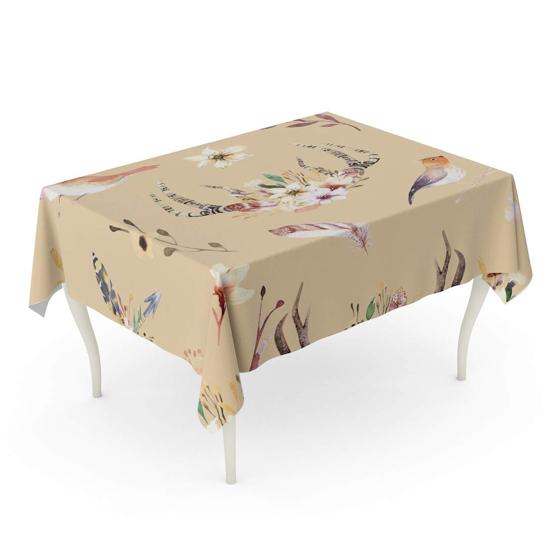 SIDONKU Bohemiamn Of Watercolor Floral Boho Antler Western Vintage Deer  Tablecloth Table Desk Cover Home Party Decor 60x120 Inch