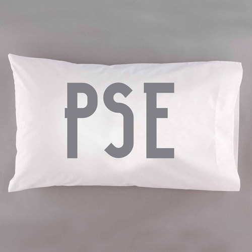 Personalized Modern Monogram Pillowcase, Available in 6 Colors