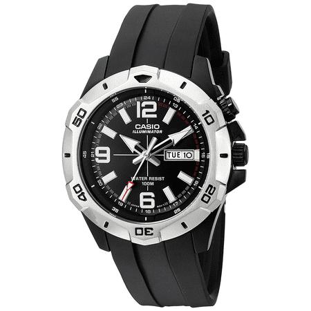 Black Rubber Watch - Casio MTD1082-1AV Men's Rubber Strap Super Illuminator Day Date Black Dial Watch