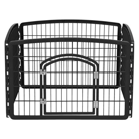 IRIS 24'' Exercise 4 Panel Pet Playpen with Door, Black