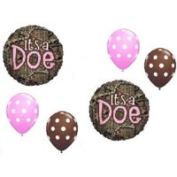 LoonBalloon MOSSY OAK It's a Doe Pink Girl Baby Shower Camouflage 6 Mylar & Latex Balloons