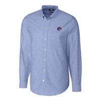 Boise State Broncos Cutter & Buck Stretch Oxford Big & Tall Long Sleeve Button-Down Shirt - Blue