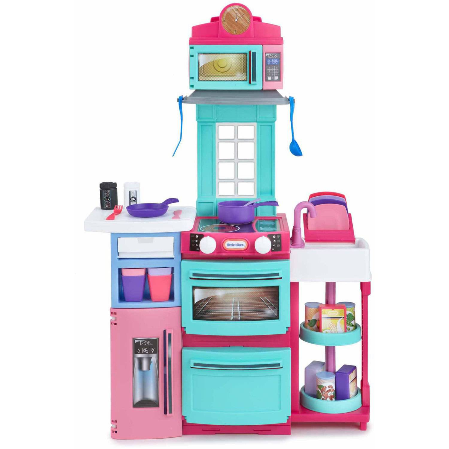 Little Tikes Play Kitchen With Grill little tikes cook 'n store kitchen, pink - walmart
